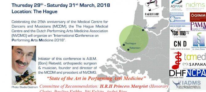 International Conference of Performing Arts Medicine, Den Hague 2018